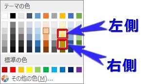 向日葵の花芯に適用したグラデーションの分岐点の色