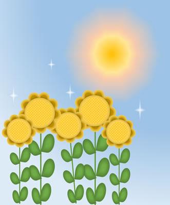 空・太陽・光・向日葵の合成