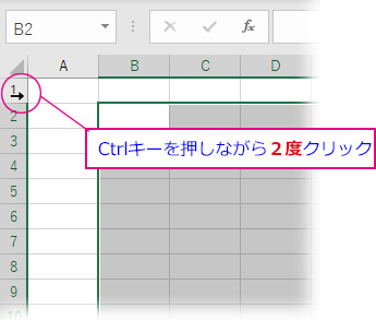 列と行を選択範囲から外すには、後に外す方の番号を2度クリック