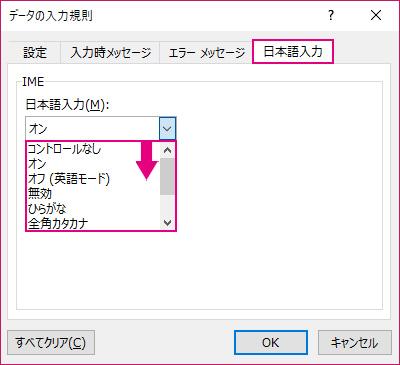 データの入力規則のダイアログボックス→日本語入力