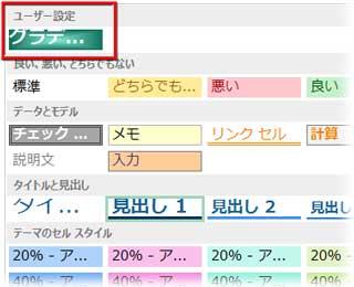 セルのスタイルをユーザー設定に登録