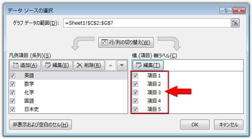データソースの選択の項目名が変更された