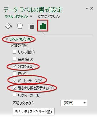 データラベルの書式設定で分類名とパーセンテージをオン、その他をオフ