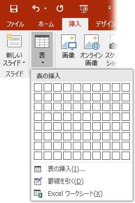表の挿入のマス目が表示される
