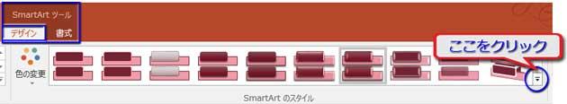 SmartArtスタイルの▼をクリック