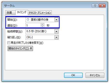 選択肢の円型だけにサークル効果のオプションのタイミングを設定