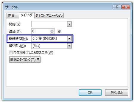 サークル効果のオプションのタイミングを設定