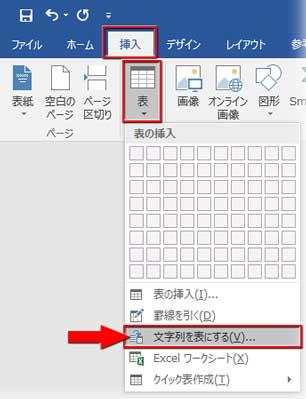 「挿入」⇒「表▼」から「文字列を表にする」をクリック