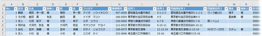 住所録の入力サンプル