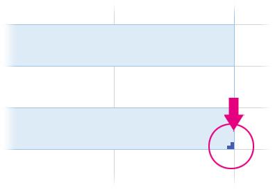 テーブルの範囲を拡張・縮小するカギ括弧型のマーク