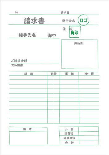 請求書の項目の配置図