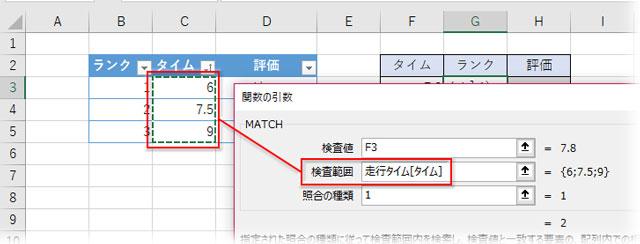 タイムのフィールドを検索範囲に指定、照合の種類を1に指定