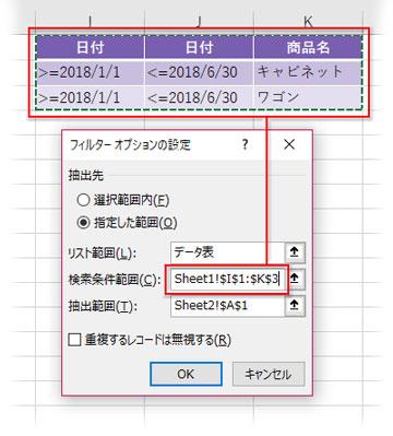 抽出条件範囲に日付とテキストの複合的条件表を指定