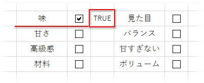 指定したセルにTRUEと表示