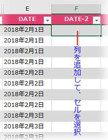 変換した日付の入る列を新設して最初のセルを選択