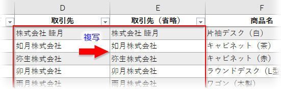 Controlキー+Rで「取引先」のデータを複写