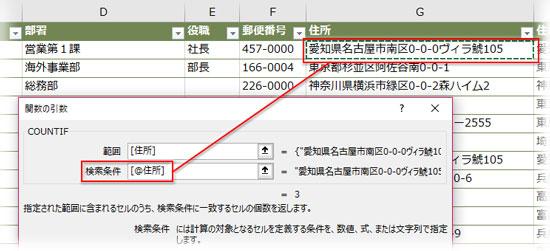 COUNTIF関数の次の引数に「住所」フィールドの最初のセルをクリックして指定