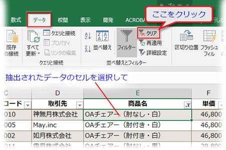 「データ」→「並べ替えとフィルター」にある「クリア」をクリック