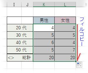 「総計」行までオートフィルコピー
