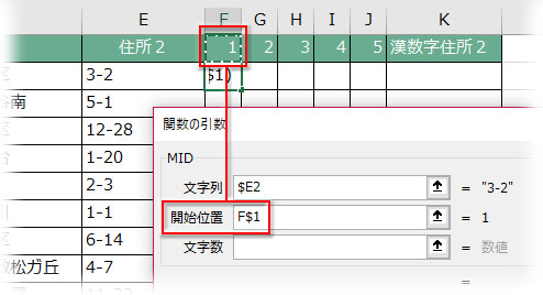 MIDの引数「開始位置」に抽出を開始する位置情報を数値で指定