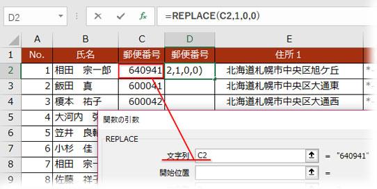 REPLACEの引数「文字列」に6桁郵便番号が入ったセルを指定