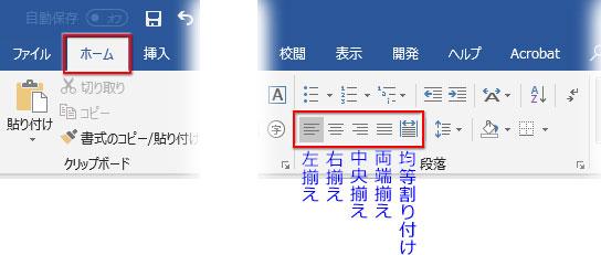 段落の配置を設定するボタン