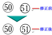 修正前と修正後の丸数字51