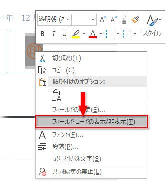 右クリック→フィールドコードの表示/非表示