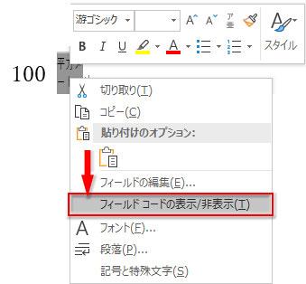 組み文字を選択してフィールドコードの表示/非表示をクリック