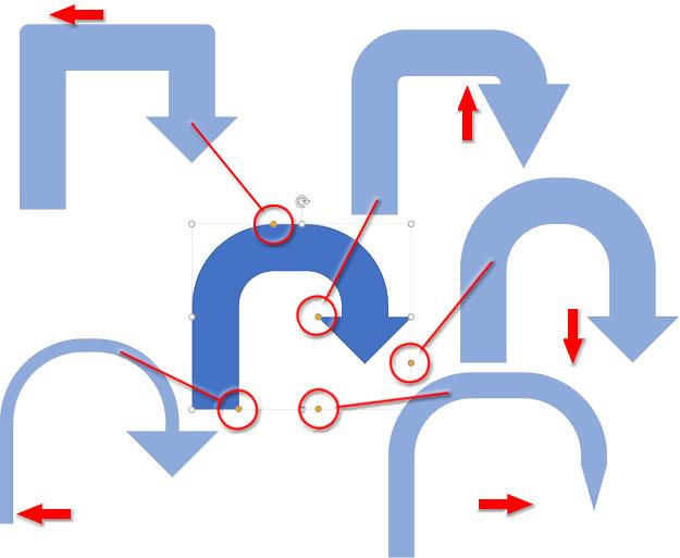 5つの変形ハンドルを持つ矢印図形の変形例