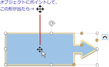 選択したオブジェクトにポイントすると全方向矢印の十字型が出る
