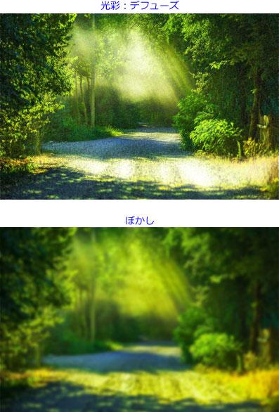 「光彩:デフューズ」「ぼかし」を設定した画像