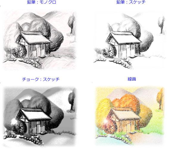 「鉛筆:モノクロ」「鉛筆:スケッチ」「チョーク:スケッチ」「線画」を設定した画像