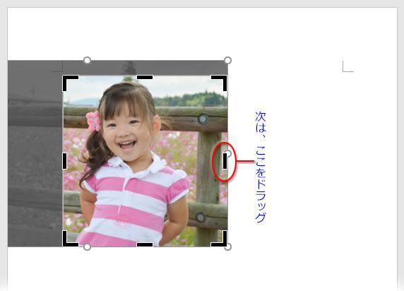 トリミングする写真の右辺を決めるために右中央の直線のガイドをドラッグ
