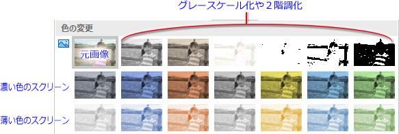「図ツール-書式」タブ「調整グループ」→「色▼」→「色の変更」