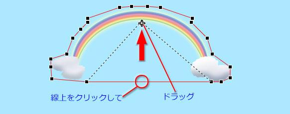 内側のパスの中央をクリックして画像内側の縁にドラッグ