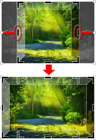 写真に合わせて図形の横幅を拡大