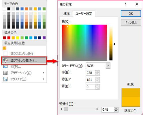 「その他の塗りつぶしの色」→「色の設定」