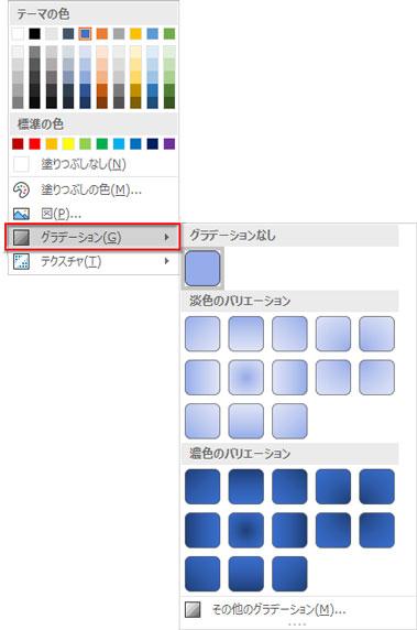 「図形の塗りつぶし」→「グラデーション▶」をクリック