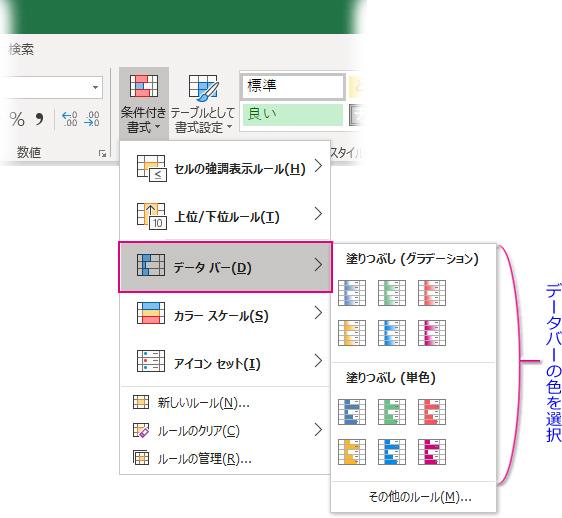 「条件付き書式▼」→「データバー」→データバーの色を選択
