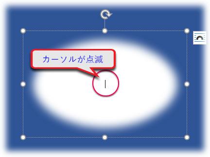 図形の中央にカーソルが点滅